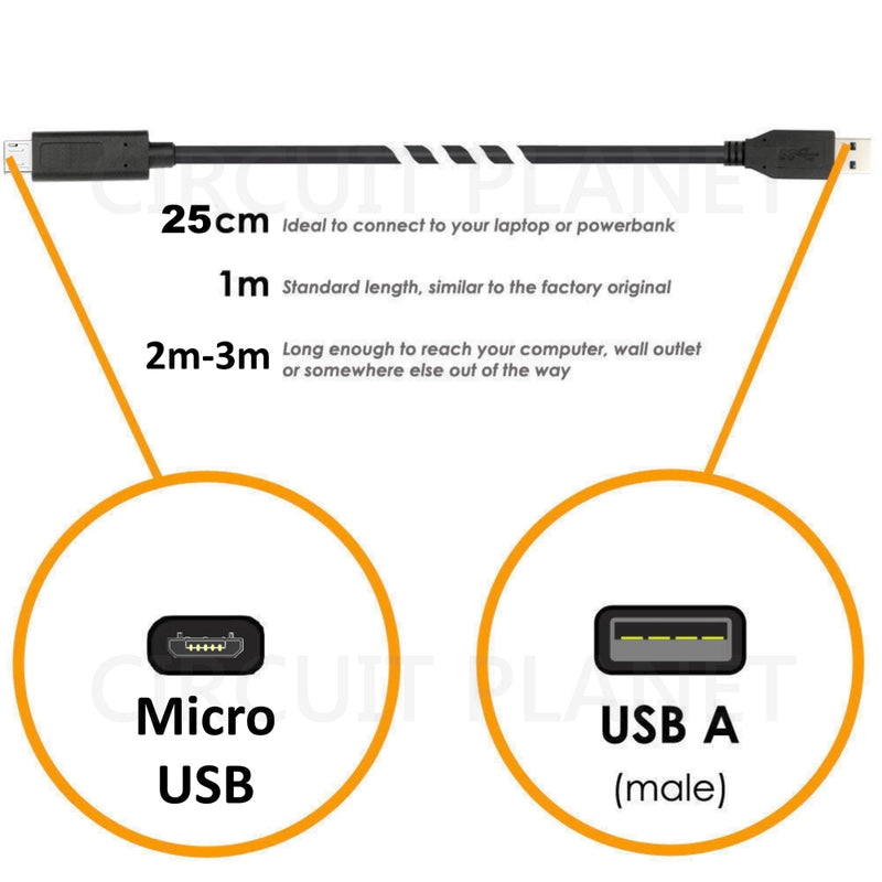 Micro USB Sync and Charge Cable in Black (Price Per 5 Units)