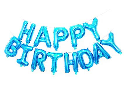 Happy Birthday foil balloons set- Blue