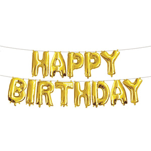 Happy Birthday foil balloons set- Gold