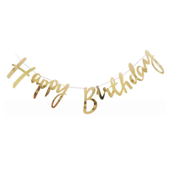 Happy Birthday banner cursive- Gold