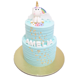 Pastel Blue Unicorn Cake with Rainbow