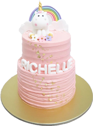 Pastel Pink Unicorn Cake with Rainbow