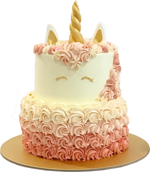 Unicorn Cake with Ombre Rosettes