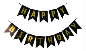 Black & Gold Happy Birthday banner