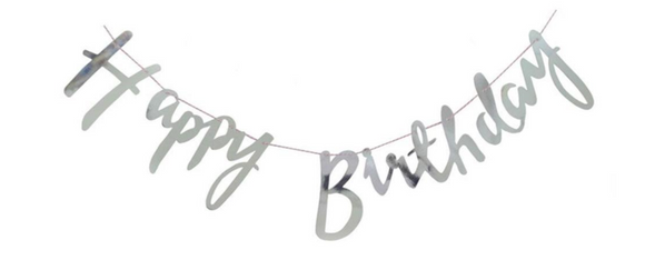 Happy Birthday banner cursive- Silver