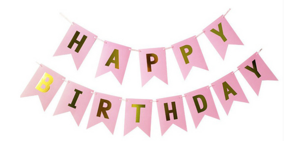 Pink & Gold Happy Birthday banner