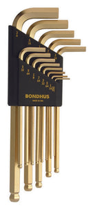 "BONDHUS  BLX13G GOLD BALLEND HEX KEY SET 0.050""-3/8"", 37937"