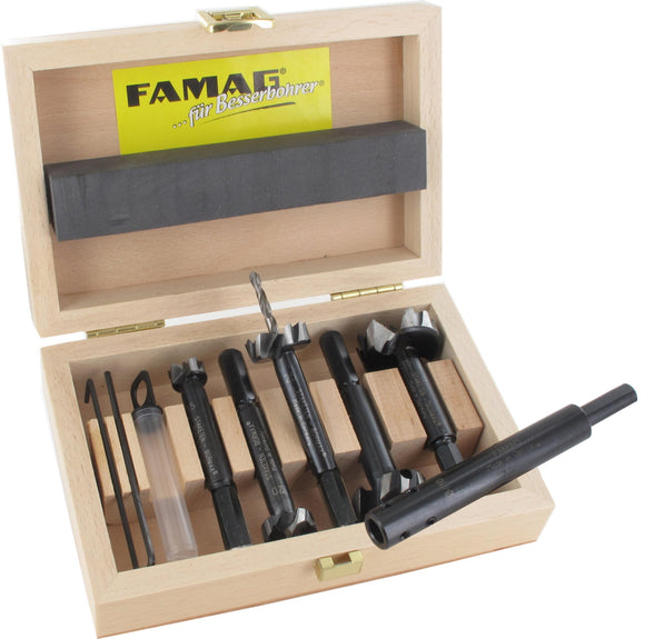 FAMAG, pilot guided Bormax 2.0, prima, alloyed tool steel, set of 6pcs Ø15,20,25,30,35 mm, in wooden box incl center point, pre-drill, incl extension shank 1639.001, F162450600