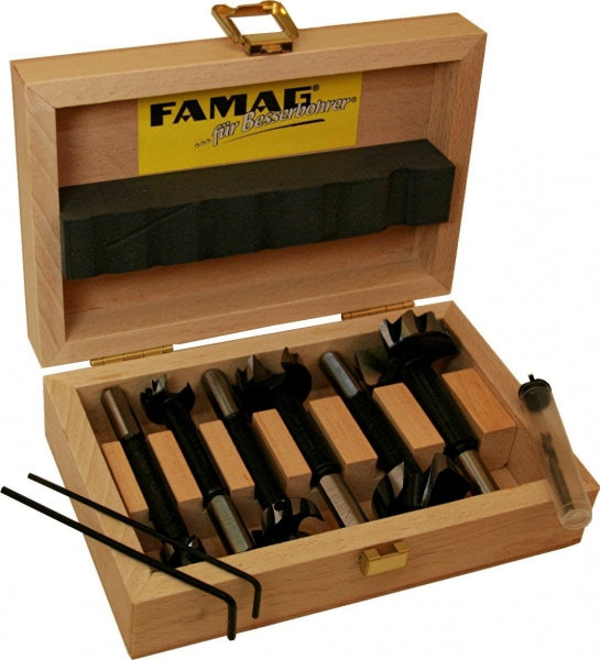FAMAG, pilot guided Bormax 2.0, prima, alloyed tool steel, set of 6pcs, Ø15,20,25,30,35,40 mm, in wooden box incl center point, pre-drill, F162460600
