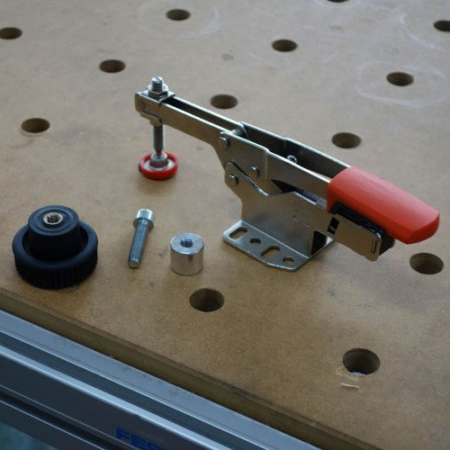 BESSEY, STC-IHH25-T20 Push/pull clamp with horizontal base plate with accessory set, BE102383
