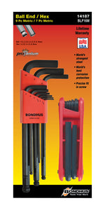 BONDHUS  BLX9MM PROGUARD BALLEND HEX KEY SET INC 12587 GORILLA GRIP, 14187