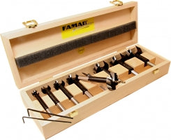 FAMAG, pilot guided Bormax 2.0, prima, alloyed tool steel, set of 7pcs, Ø15,20,25,30,35,40,50 mm, in wooden box incl center point, pre-drill, F162457000