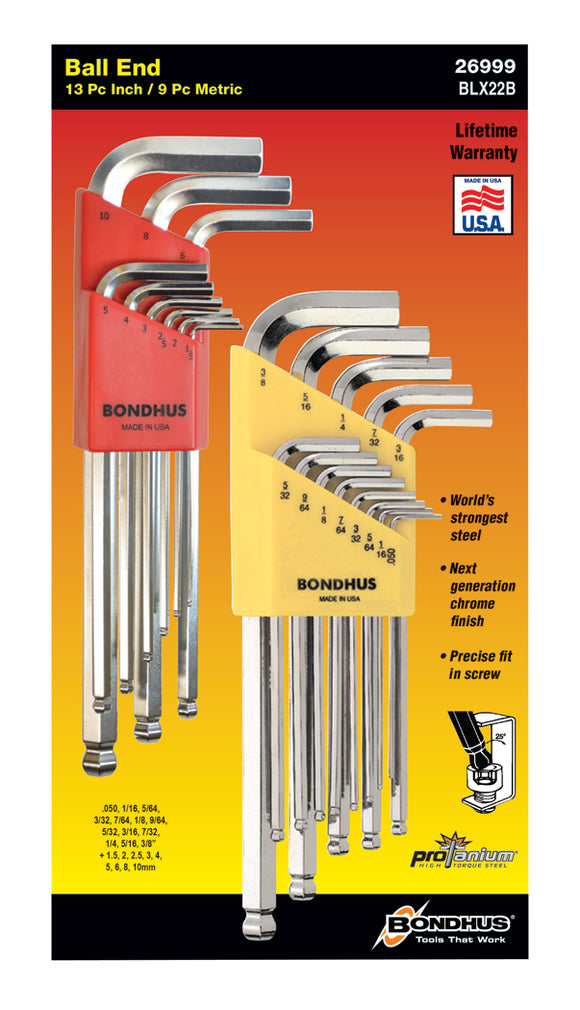 BONDHUS  BLX22B DOUBLE PACK BLX9MM+BLX13 BRITEGUARD BALLEND HEX KEY SET, 26999