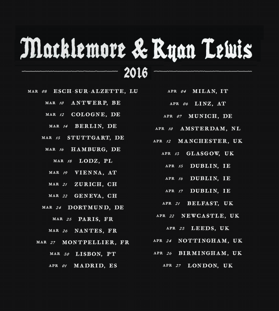 Match T-Shirt w/ Europe 2016 Tour Dates