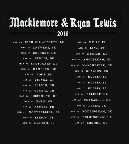 Match Crewneck w/ Europe 2016 Tour Dates