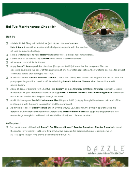 Hot Tub Maintenance Checklist with Dazzle specialty hot tub products