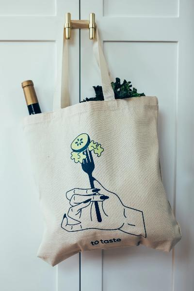 To Taste illustrated tote bag, by Joe Schlaud