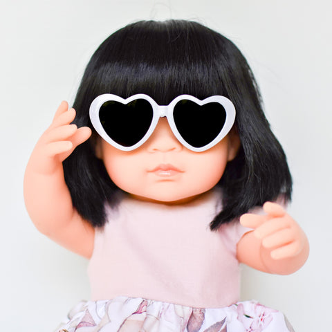 White: Dolls Heart Sunglasses