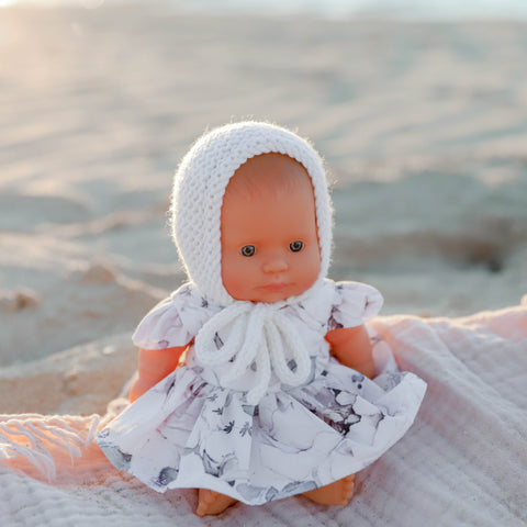 Knit Basic Bonnets (21cm Miniland Doll)