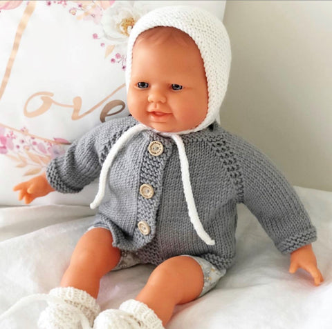 Ready to ship // Knit Basic Bonnet and Booties set: 38/40cm Miniland (Available in multiple colours)