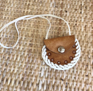 Handmade Tan 'Flowers' Leather Dolly Bag
