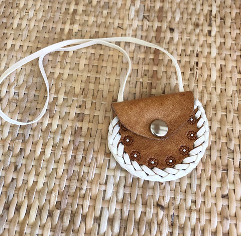 ON SALE Handmade Tan 'Flowers' Leather Dolly Bag