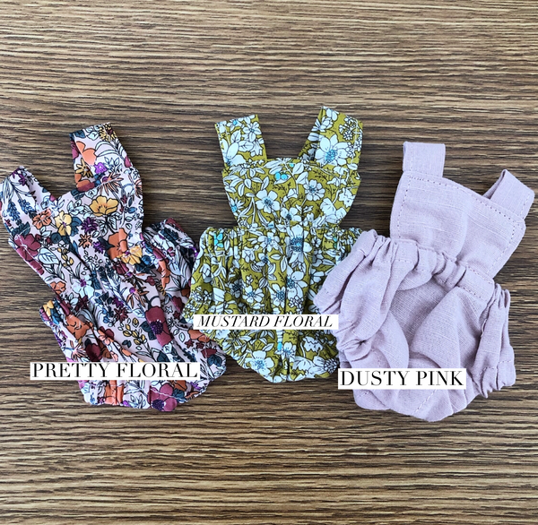 Ready to ship // Flutter Romper: To fit 21cm Miniland  (Available in 3 fabrics)