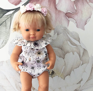 Ready to ship // Cleo Romper: 38cm Miniland (Available in multiple fabrics)