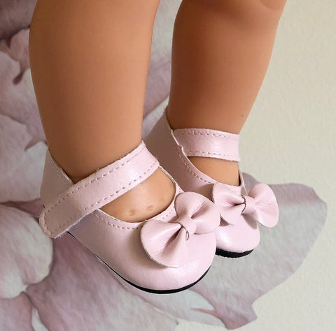 Eva: Pale Pink Dolly Shoes (to fit 38cm Miniland)