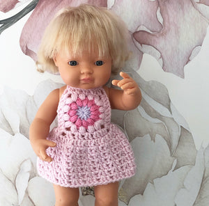 ON SALE Ready to ship // Crochet Flower Dress: To fit 38cm Miniland, PR/Minikane (Available in 3 colour ways)