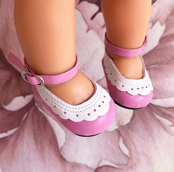 Greta: Rose Pink Doll Shoes (to fit 38cm Miniland)