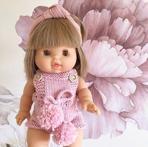 Ready to ship // Knit Unisex Romper with Pom Pom Ties (38cm Miniland, PR & Minikane Doll)