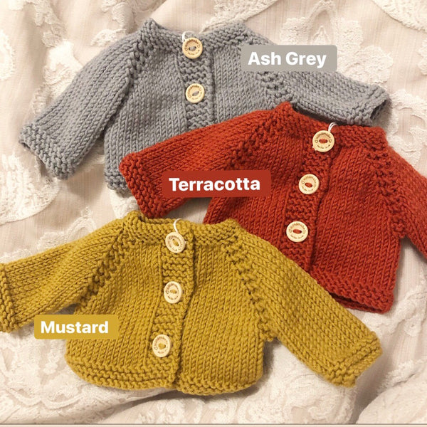 Knit Basic Cardigan (to fit 38cm Miniland Doll)