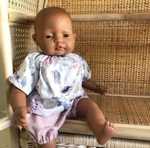 Ready to ship // Bailey Set with Dusty Pink Bloomers: Soft Bodied Miniland & Dinkum Doll (Top available in multiple fabrics)