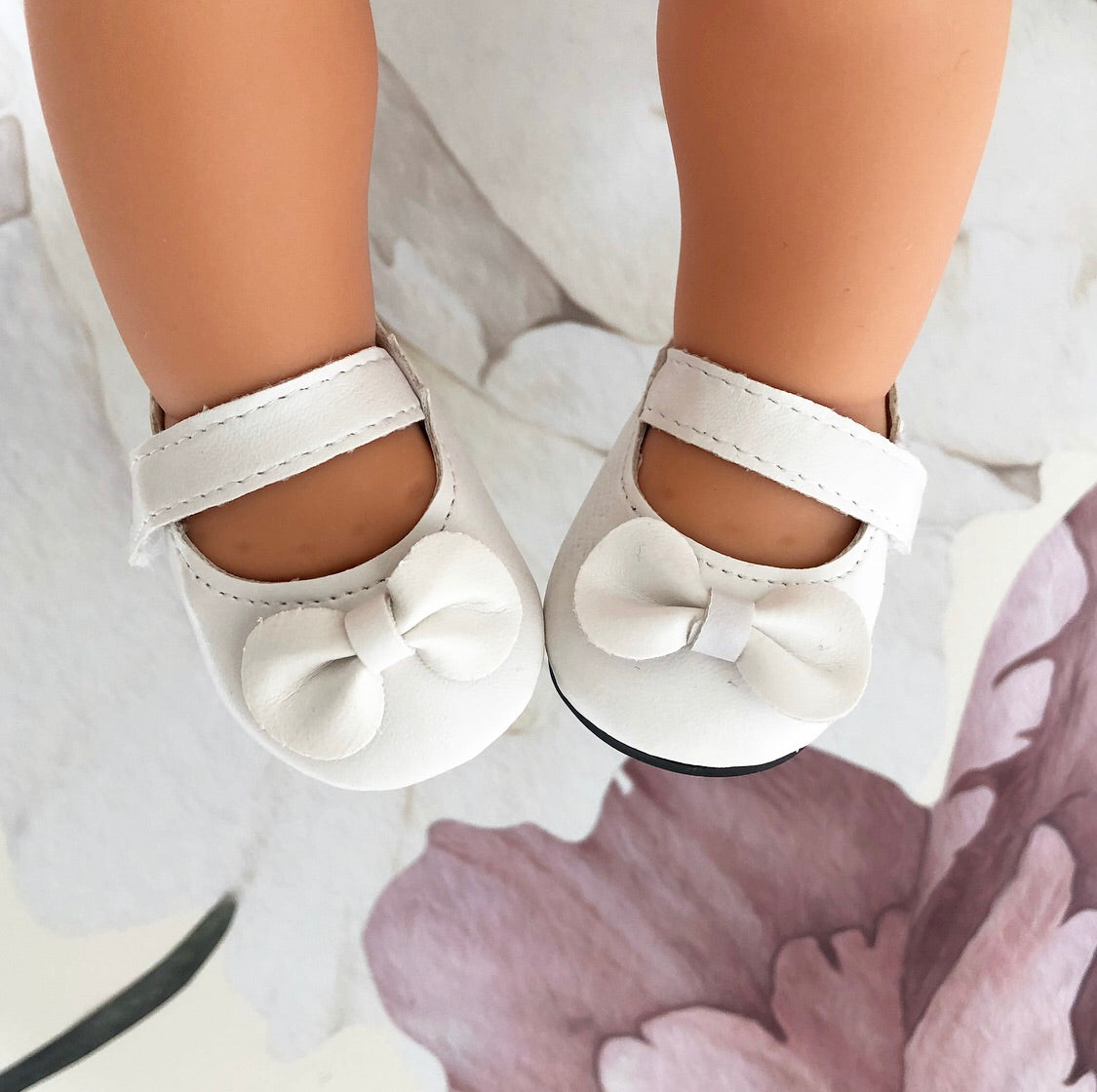 Eva: White Dolly Shoes (to fit 38cm Miniland)