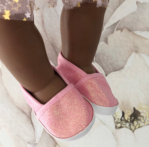 Clara: Pink Glitter Doll Shoes (to fit 38cm Miniland)