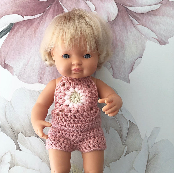 ON SALE Ready to ship // Crochet Flower Overalls: To fit 38cm Miniland, PR/Minikane (Available in 3 colour ways)