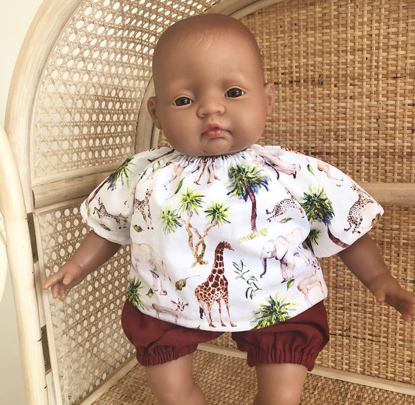 Made to order // Bailey Set with Rust Bloomers: Soft Bodied Miniland & Dinkum Doll (Top available in multiple fabrics)