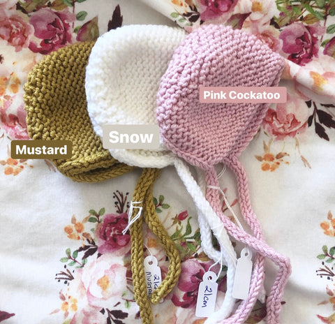 Ready to ship // Knit Basic Bonnets (21cm Miniland Doll)