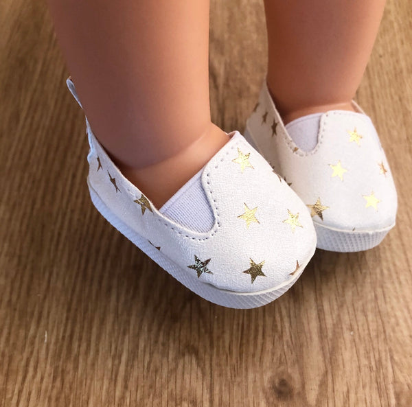 Clara: Gold Stars Doll Shoes