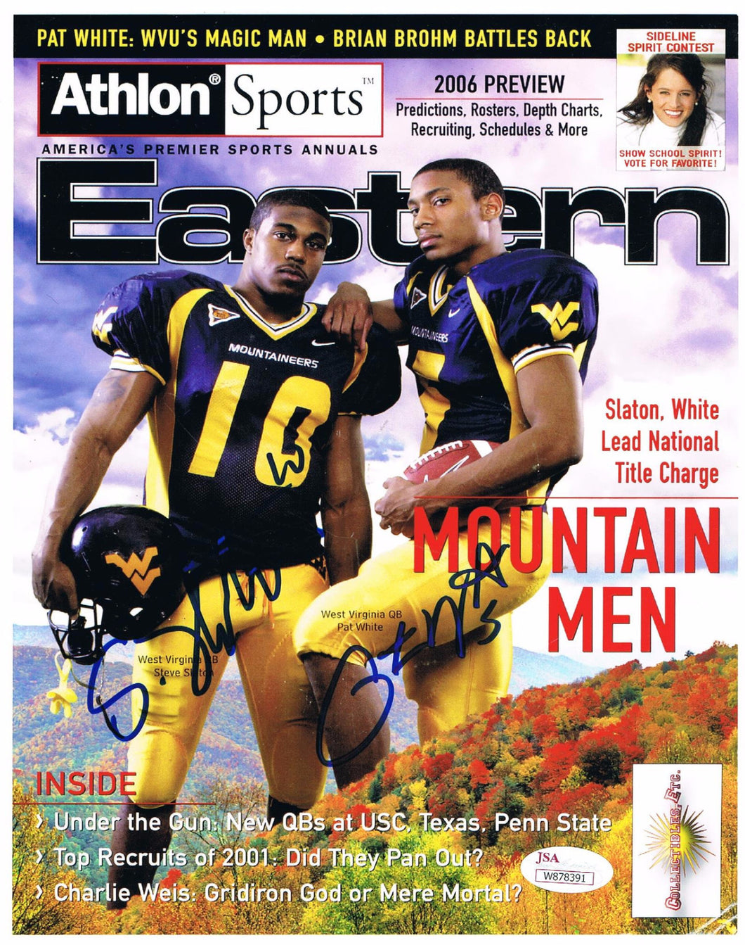 Pat White & Steve Slaton West Virginia Mountaineers Dual Signed Athlon Sports Cover Photos