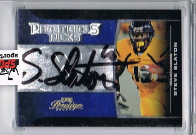 Steve Slaton WVU 2008 Blue Prestigious Picks Signed Football Card