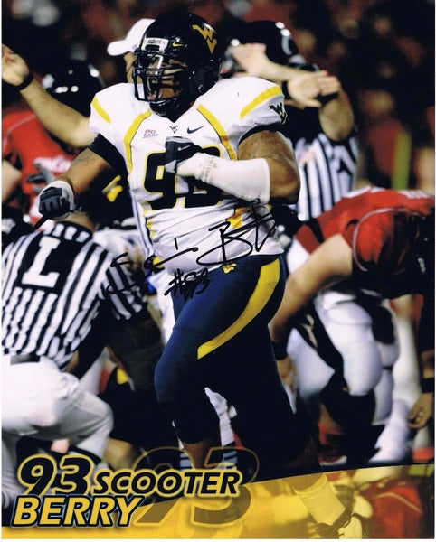SCOOTER BERRY WEST VIRGINIA MOUNTAINEERS SIGNED 8x10 PHOTOS