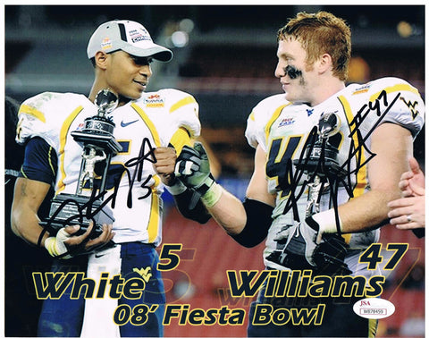 Pat White & Reed Williams Dual Signed West Virginia Mountaineers 2008 Fiesta Bowl Champs 8x10 & 16x20 photo