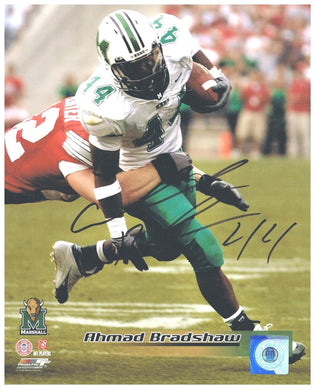 marshall football, ahmad bradshaw signed photo, admad bradshaw autographed photo