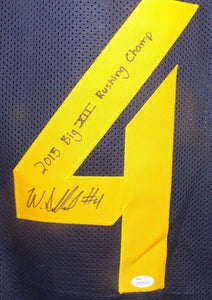Wendell Smallwood Custom Stitched West Virginia Mountaineers Signed Jersey JSA w/Inscription