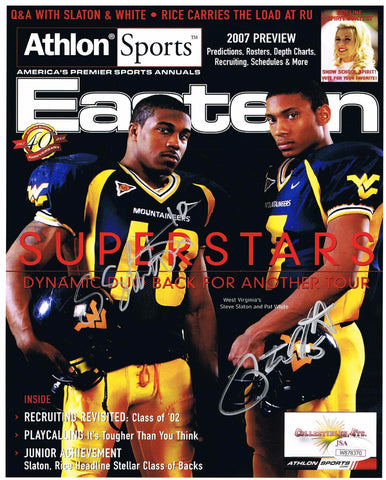 Pat White & Steve Slaton Athlon Cover Dual Signed 8x10 Autograph West Virginia Mountaineers JSA