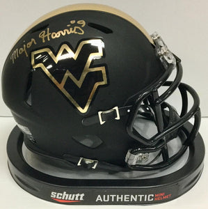 Major Harris West Virginia Mountaineers Signed WVU Blackout Mini Helmet