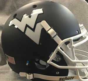 wvu football, west virginia mountaineers blue helmet with facemask and white flying wv