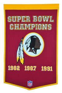 washington redskins super bowl champions dynasty wool banner